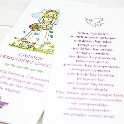 Punto de libro Comunión plastificado con oración NIÑA