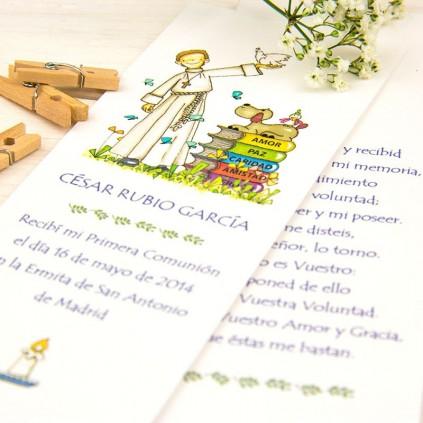 Punto de libro Comunión plastificado con oración NIÑO
