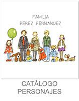dibujo de familia con objetos y mascotas