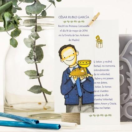 Punto de libro plastificado con oración NIÑO