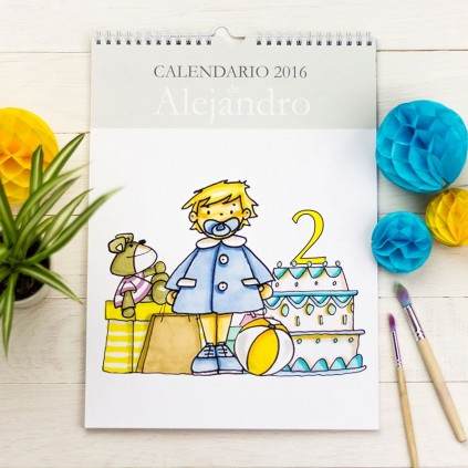 Calendario pared niña y niño