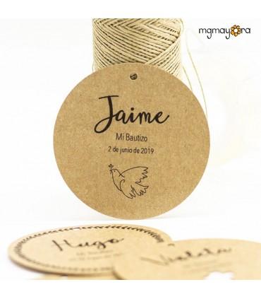Etiqueta Bautizo Kraft con cordón