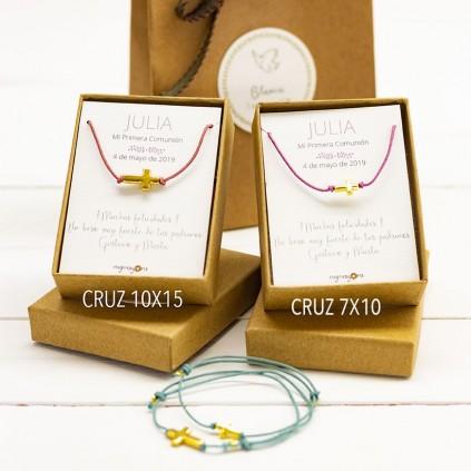 Pulsera de Comunión cruz 10x15 chapada en oro