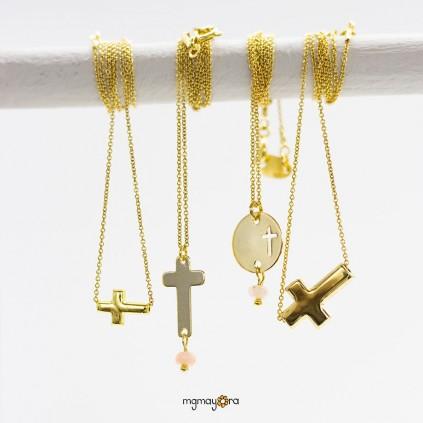 Colgante Cruz 7x10 de Comunión chapada en oro