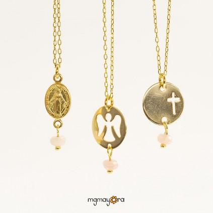 Medalla ángel de Comunión chapada en oro