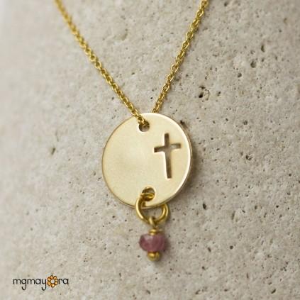 Medalla cruz chapada en oro