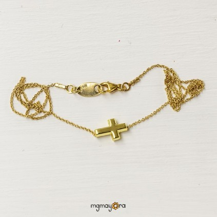 Colgante Cruz 7x10 chapada en oro