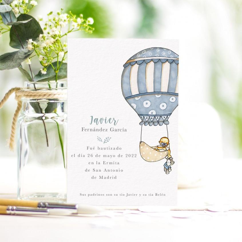 20 tarjetas de recordatorio para bautizo de ni/ño//ni/ña