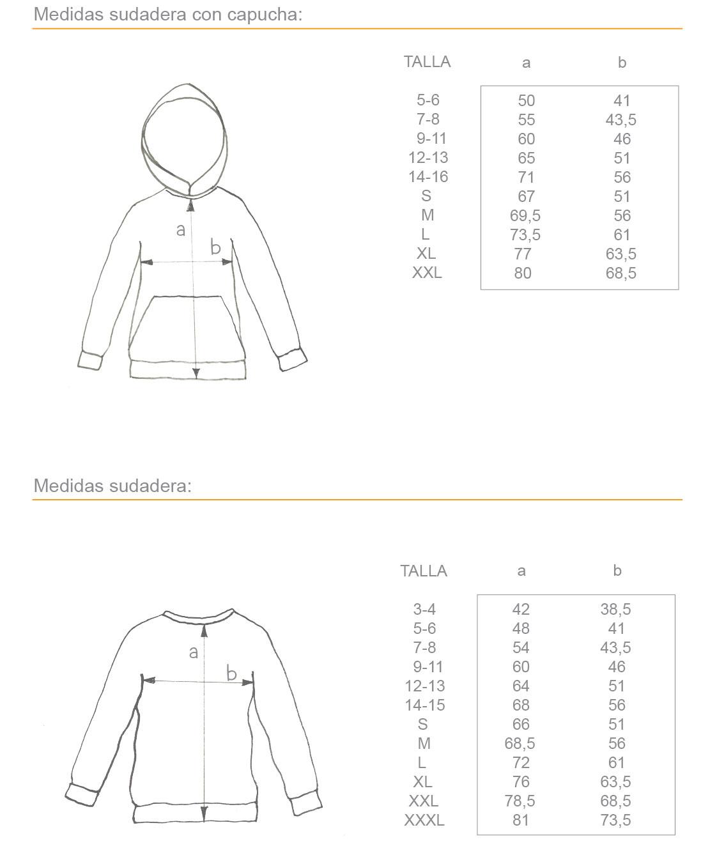 Medidas sudaderas, con o sin capucha, para niño y adulto, desde 5 años a XXL